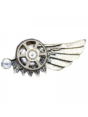 Handmade Steampunk Metal Retro Gear Wings Brooch by Mr Yi's Steamland