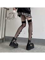 Black Bowknot Cut Out Front Fishnet Overknee Stockings by Night Experiment