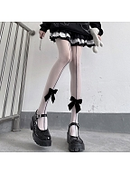 White / Black Velvet Bowknot Front Tights by Night Experiment