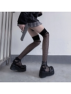Black Wave Point Bowknot Overknee Stockings by Night Experiment