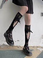Black / White Lace Hollow Out Stockings by Night Experiment