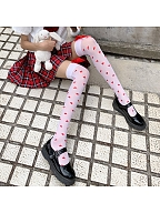 Red Heart-shaped Bowknot Decorative Overknee Stockings by Night Experiment