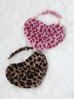 Leopard Heart Shaped / Square Plush Tote Bag by Souffle Song