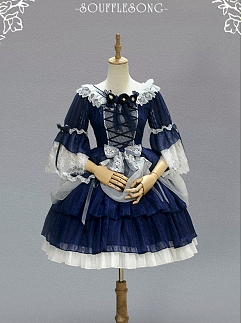 Night Star Flowers Middle Sleeves Lolita Dress OP by Souffle Song