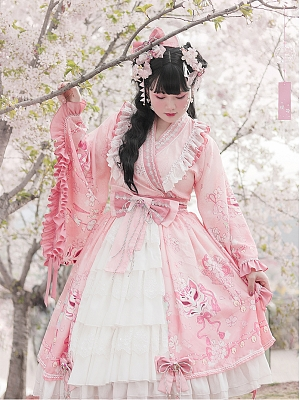 Plus Size Song Wa Lolita Wide Sleeves Top / Tiered Ruffles Skirt by NSG Lolita