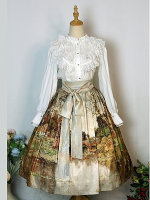 Plus Size Oil Painting Series Early Summer Lolita Skirt by NSG Lolita