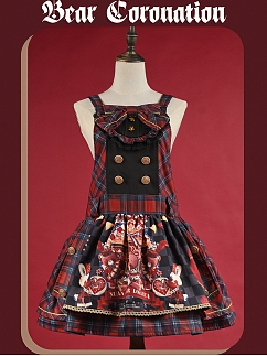 Bear Coronation Sweet Plaid Lolita Overall Dress JSK by NnSTAR Lolita
