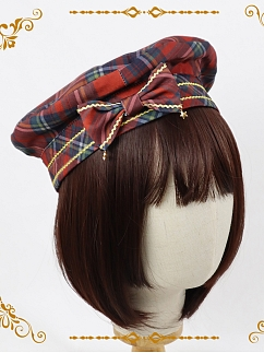 Bear Coronation Sweet Plaid Lolita Beret / KC / Hairclip by NnSTAR Lolita