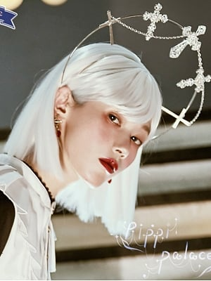 Mid Length Lob Lolita Wig White Wig with Bangs by Pippi Palace