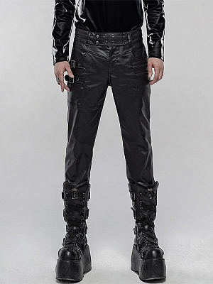 Men's Gothic Steampunk PU Leather Pants by Punk Rave