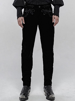 Men's Gothic Exquisitely Embroidered Trousers by Punk Rave
