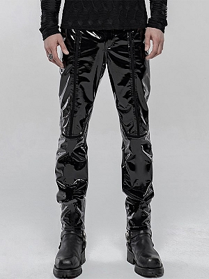 Men's Gothic Mechanical Patent PU Leather Trousers by Punk Rave