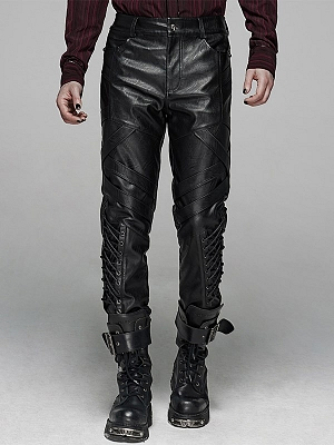 Men's Gothic Punk Elastic PU Leather Pants by Punk Rave