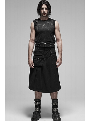 Men's Gothic Punk Detachable Pleated Skirt by Punk Rave