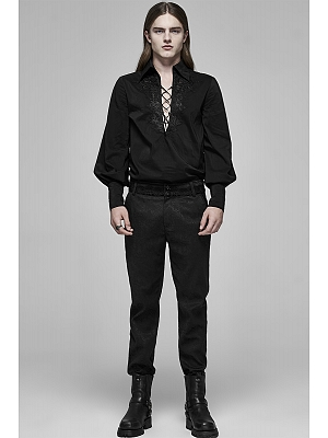 Men's Gothic Jacquard Embroidered Trousers by Punk Rave