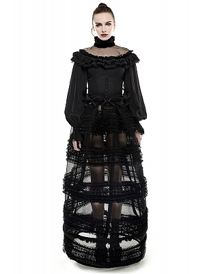 Gothic Lolita Multi-layer Lace Perspective Long Skirt by Punk Rave