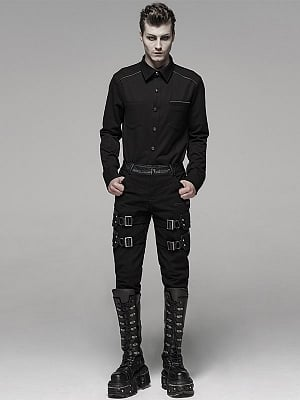 Men's Gothic Heavy Metal Stretch Trousers by Punk Rave