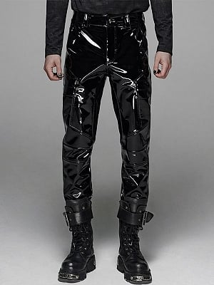Men's Gothic Military Patent PU Leather Pants by Punk Rave