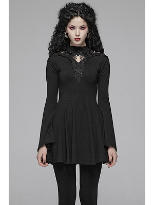 Gothic Stand Collar Hollow-out Long Sleeves Short Knitted Dress by Punk Rave