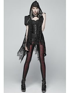 Gothic Vintage Hooded Sleeveless Long Lace Outwear by Punk Rave
