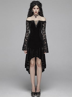 Gothic Lolita Off-the-shoulder Neckline Lace Long Trumpet Sleeves Dress by Punk Rave