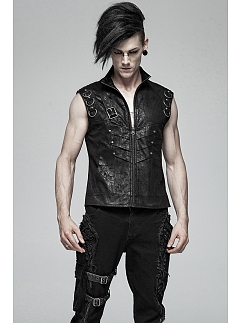 Men's Gothic Rock Stand Collar Short Vest by Punk Rave