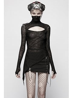 Gothic High Neck Long Sleeves Pespective Knitted Top by Punk Rave