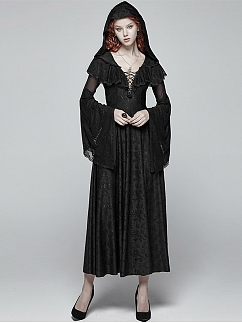 Gothic Punk Hooded Long Trumpet Sleeves Sexy Long Dress by Punk Rave