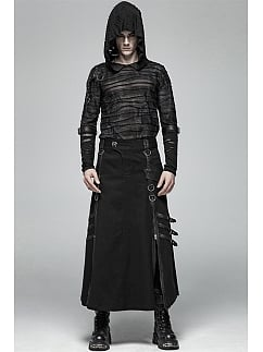 Men's Gothic Punk Hooded Perspective Long Sleeves Top by Punk Rave