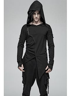 Men's Gothic Hooded Long Sleeves Irregular Knitted Top by Punk Rave