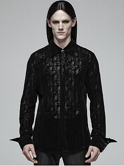Men's Gothic Lace Flocking Long Sleeves Shirt by Punk Rave