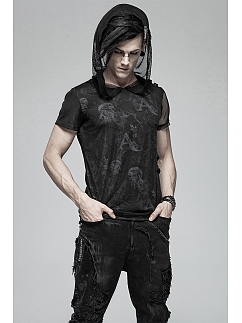 Men's Gothic Hooded Short Sleeves T-shirt by Punk Rave