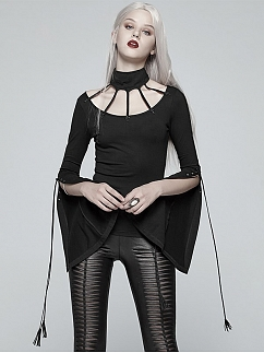 Gothic Vintage Lolita Long Trumpet Sleeves Knitted Top by Punk Rave