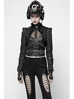 Gothic Steampunk Long Puff Sleeves Cropped Jacket by Punk Rave