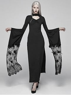Gothic Punk Lolita Long Sleeves High Slit Long Dress by Punk Rave