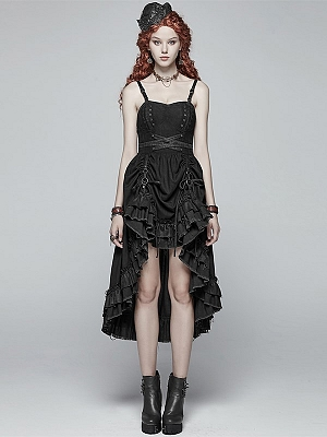 Gothic Steampunk Sweetheart Neckline High Low Cami Dress by Punk Rave