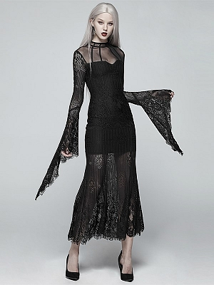 Gothic Lolita Stand Collar Long Sleeves Lace Long Dress by Punk Rave