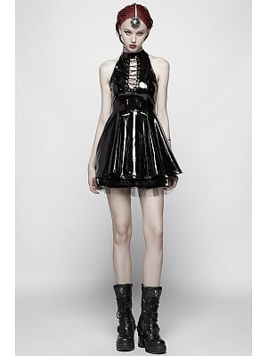 Gothic Steampunk Stand Collar Patent Leather Short Dress by Punk Rave