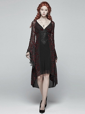 Gothic Goddess Classical V-neck Lace Long Sleeves Dress by Punk Rave