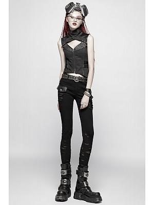 Gothic Steampunk Broken Hole Trousers by Punk Rave