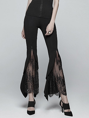 Gothic Vintage Flared Lace Leggings by Punk Rave