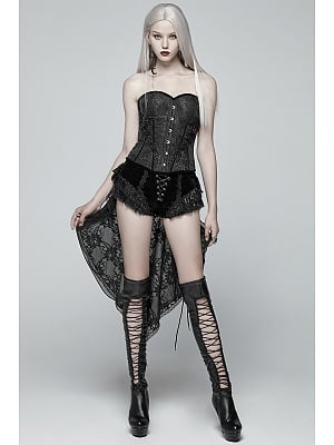 Gothic Vintage Lace Dovetail Shorts by Punk Rave