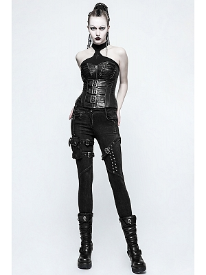 Gothic Steampunk Skinny Denim Trousers by Punk Rave