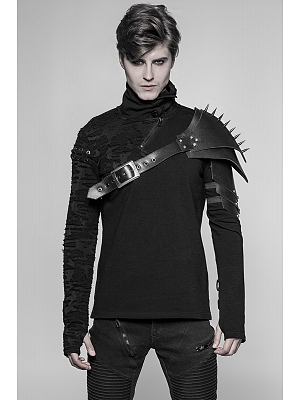 Men's Gothic Rock High Neck Long Sleeves Top by Punk Rave