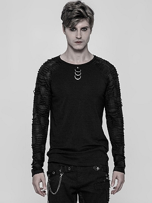 Men's Gothic Steampunk Rock Round Neckline Long Sleeves Top by Punk Rave