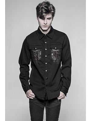 Men's Gothic Steampunk Long Sleeves Denim Shirt by Punk Rave