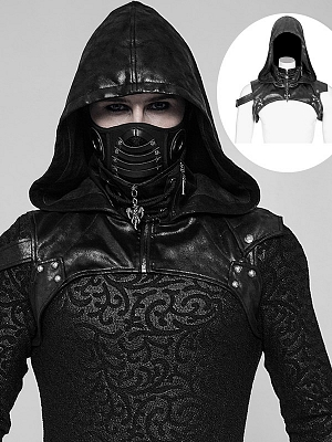 Men's Gothic Steampunk PU Leather Hooded Accessory by Punk Rave