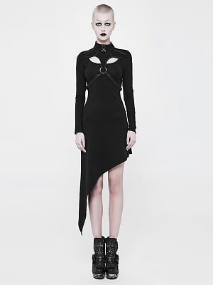 Gothic Stand Collar Long Sleeves Slant Hem Knitted Dress by Punk Rave