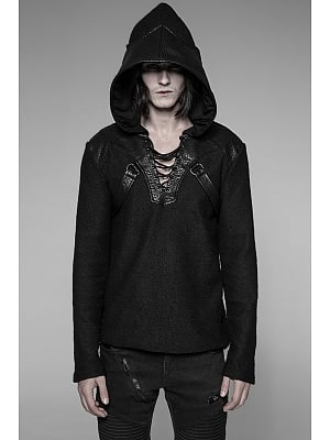 Men's Gothic Steampunk Hooded Long Sleeves Sweater by Punk Rave