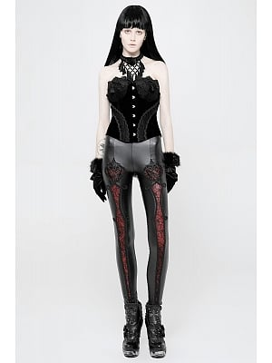 Gothic Vintage Embroidery Leggings by Punk Rave